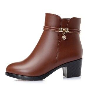 Image 3 - GKTINOO 2020 NEUE Mode Weichem Leder Frauen Stiefeletten High Heels Zipper Schuhe Warme Pelz Winter Stiefel für Frauen Plus größe 35 43