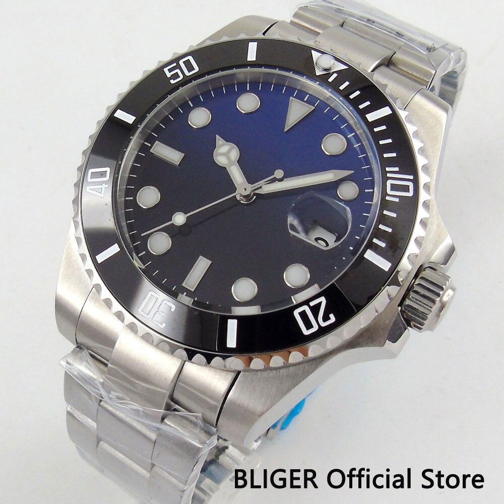 Sapphire Crystal Mechanical Men's Watch 43mm Ceramic Bezel Auto Date Magnifier Miyota Automatic Movement