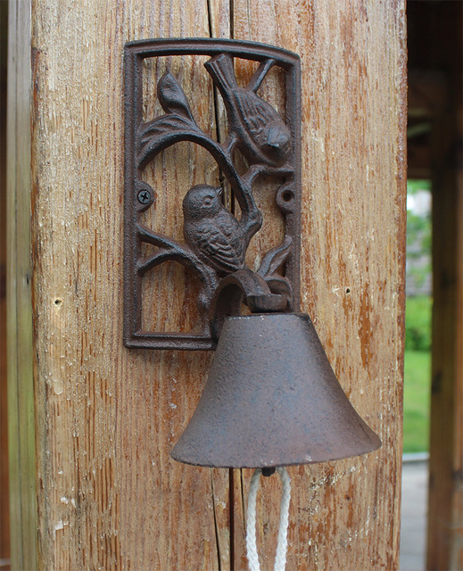 Doorbell Wall Mount 2 Birds Wrought Iron Bell On The Door Vintage Home Decoration Hanging Outdoor Garden Ornaments Metal Crafts