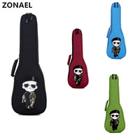 ZONAEL 21 23 26 Inch Ukulele Carry Bag Case Backpack Double Strap Hand Folk Oxford Cotton