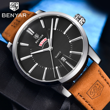 BENYAR Business Watches for Men Brown Top Brand Luxury Military Leathe