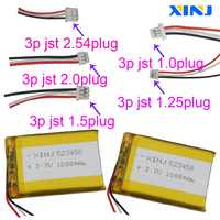 Reproductor de batería de polímero de litio de 3,7 V 1000 V 523450 mAh con enchufe de 3 pines 1,0/1,25/1,5/2,0/2,54mm para auriculares bluetooth GPS Cámara PDA