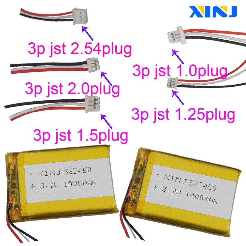 Xinj 3.7 v 1000 mah player bateria de polímero de lítio 523450 3pin 1.0/1.25/1.5/2.0/2.54mm plug para gps pda câmera bluetooth fone de ouvido