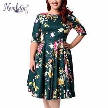 Nemidor Women 1950s Vintage Half Sleeve Plus Size 8XL 9XL Print A-line Dress Sexy V-low Back Party Midi Elegant Swing Dress