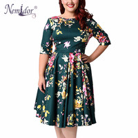 Nemidor Women 1950s Vintage Half Sleeve Print Plus Size 8XL A Line Dress Sexy V Low