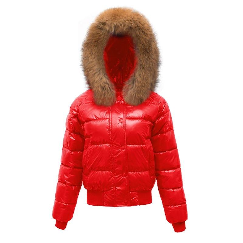À Mince Manteau bleu rouge Hiver Coton blanc Imperméable Le Mode Vers Veste Lumineux 2018 Fourrure Col Faux Automne Femmes Parka Femme Capuche D'hiver De Bas Noir 8qFHU