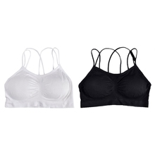 Womens Strappy Criss Cross Back Wireless Bra Padded Bralette Solid Color Sports caged strappy sports padded bra