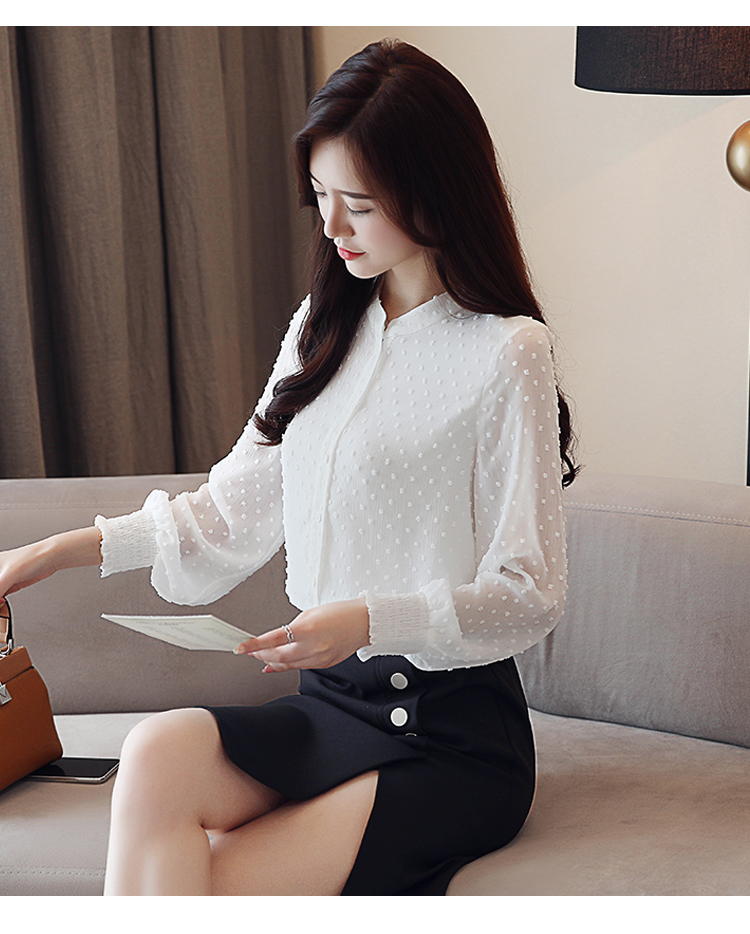 19 New arrived women shirt sweet female V collar wave point long-sleeved suntan women blouse Korean style OL blusa 0974 30 15