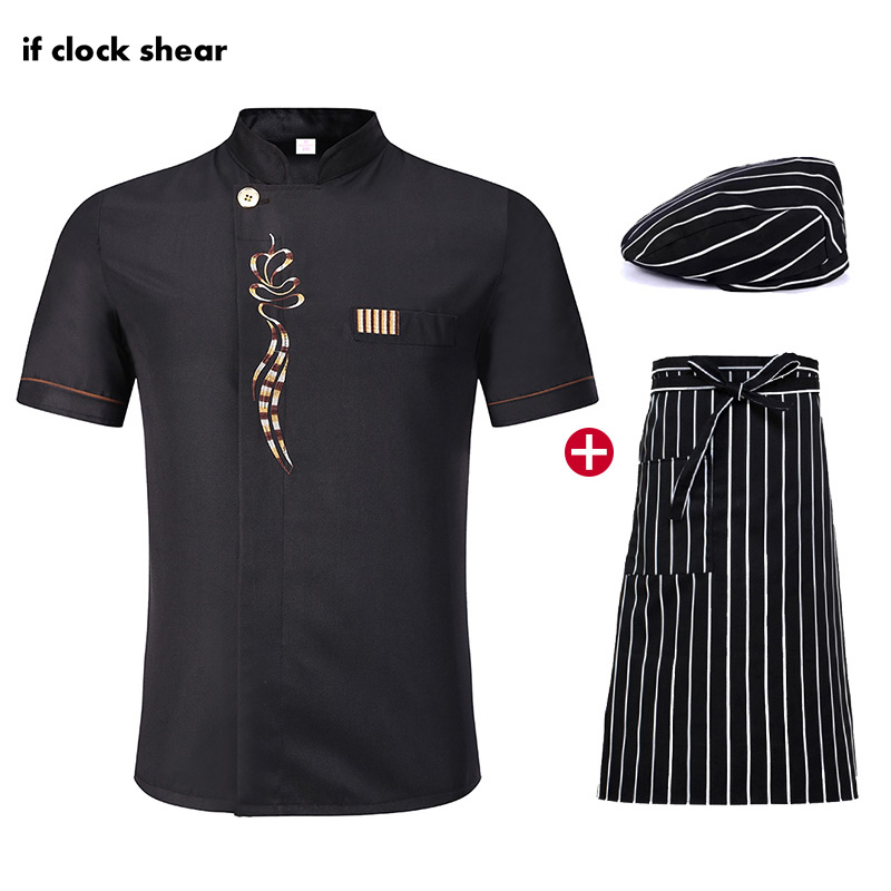 Short Sleeve Unisex Kitchen Workwear Chef Restaurant Hotel Uniforms Breathable Jacket + Hat + Apron Summer Catering Work Clothes