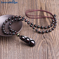 Natural Rainbow Eye Black Obsidian Stone Pendant Necklace 6mm Beads Four Seasons Beans Lovers Pendant Jewelry Accessories