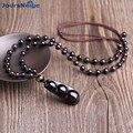 Rainbow Olho Preto Obsidian Pedra Natural Colar de Pingente de 6mm Contas Quatro Estações Amantes Feijão Pingente Jóias Acessórios