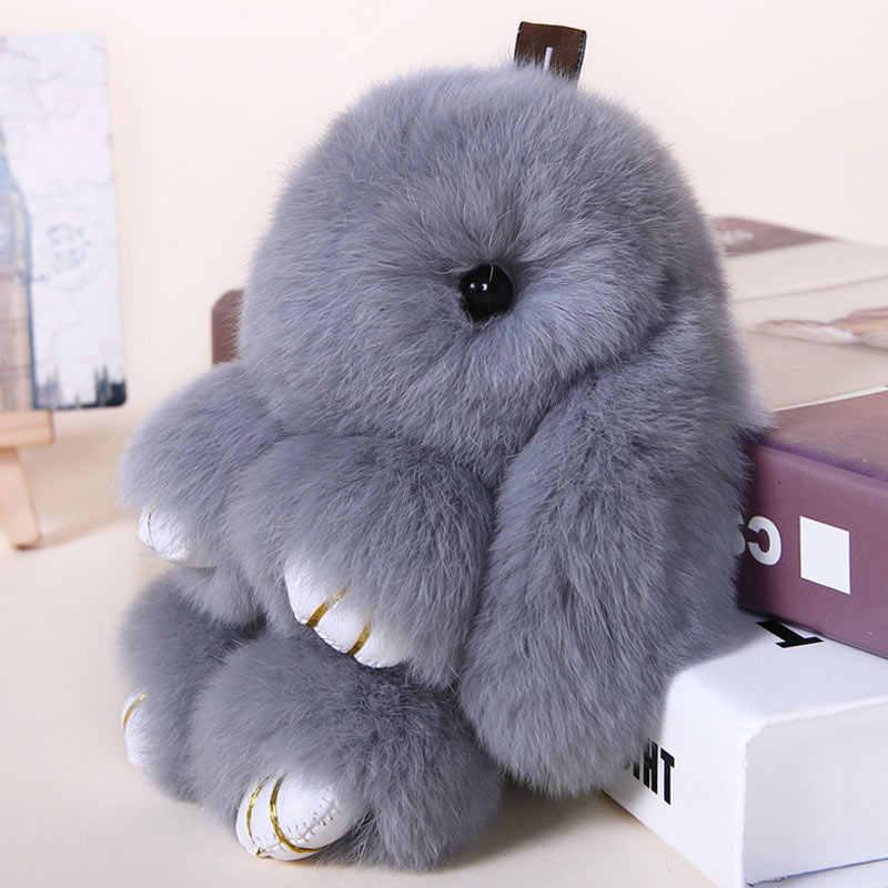 ... Rabbit Keychain Cute Fluffy Bunny Keychain Rex Genuine Rabbit Fur  Pompom Key Ring Pom Pom Toy ... 51b9fd826a4d6