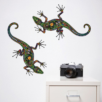 Ethnic Style Gecko Pattern Wall Sticker Self-adhesive Wallpaper Colorful Wall Lizard Wall Window Stickers Home Decor Wall Art interior design