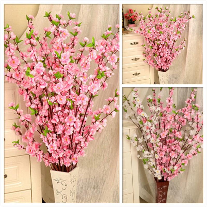 Künstliche Dekorationen Künstliche Kirsche Frühling Plum Pfirsich Blossom Zweig Silk Blume Hause Hochzeit Dekorative Blumen Kunststoff Pfirsich Bouquet 65 Cm P0.21
