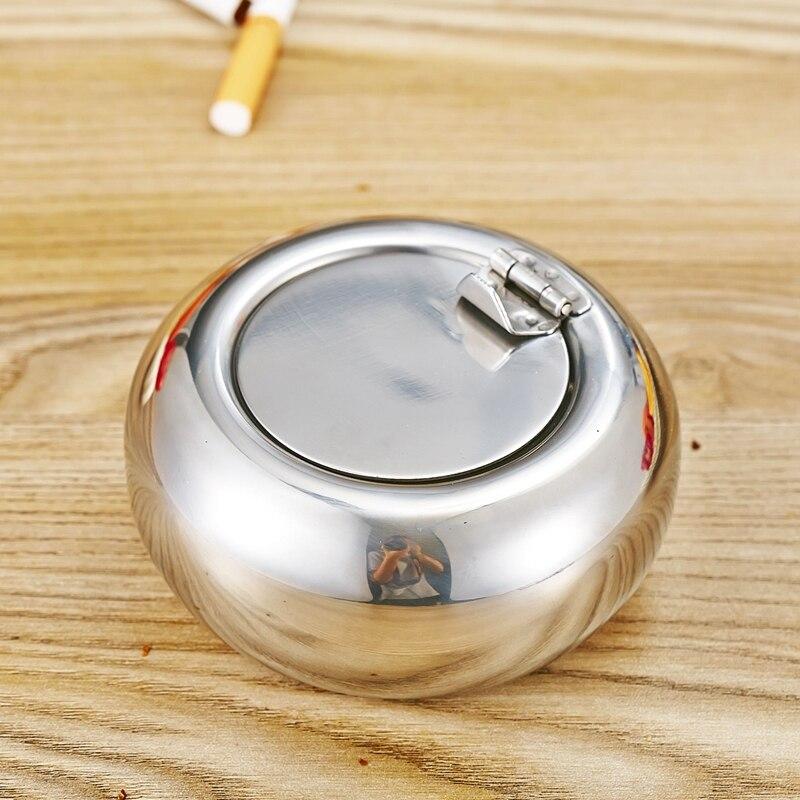 Forme de Tambour En Acier inoxydable et Couvercle Cendrier avec Couvercle Cendrier De Voiture Cendrier Cigare Cigarette Sans Fumée Cendrier