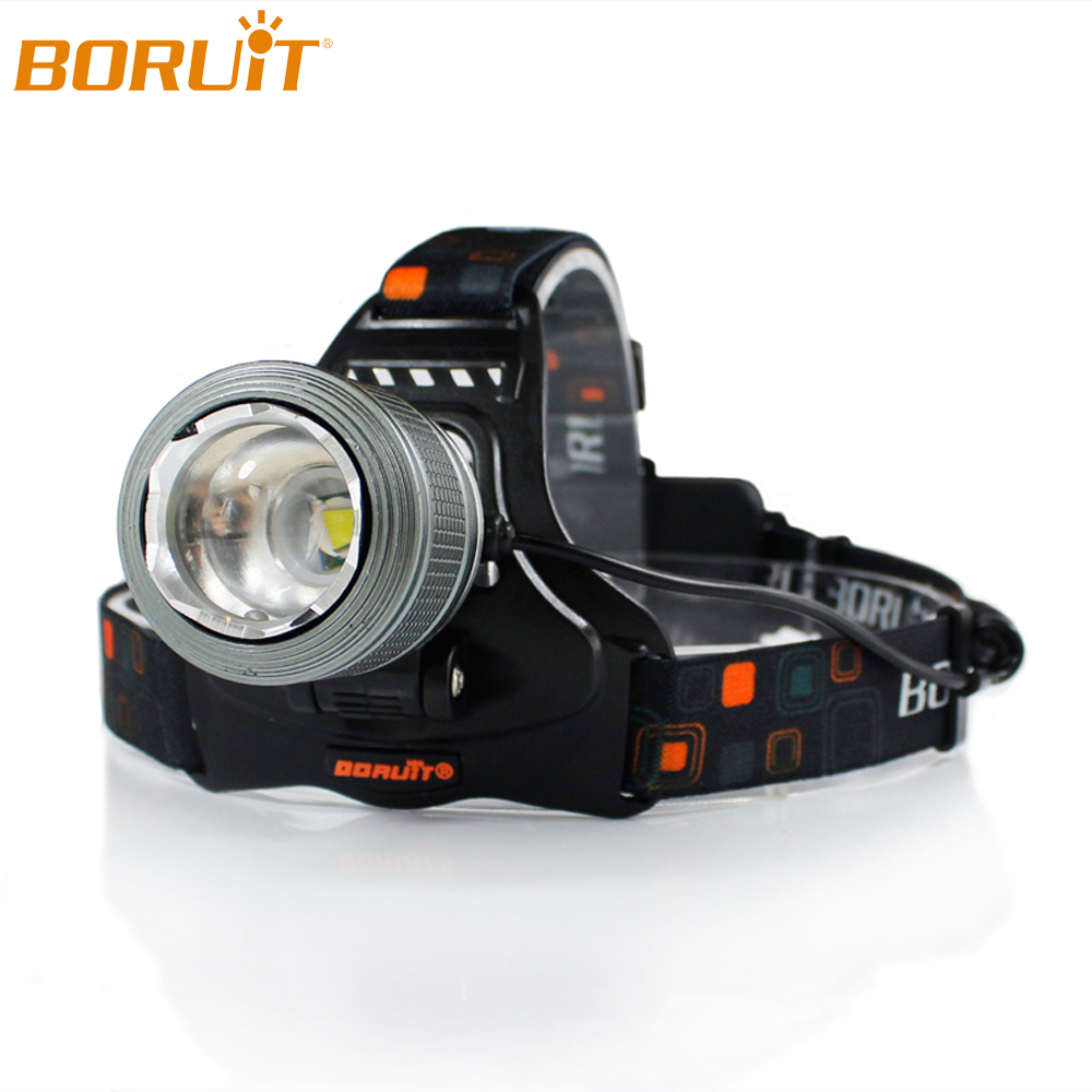 BORUiT XML T6 LED Headlamp Flashlight Zoomable Rechargeable Headlights Waterproof Camping Hunting Lanterns Tactical Head Torch