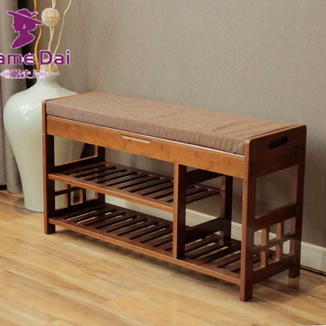 Buy bamboo shoe rack storage organizer Wooden hallway furniture