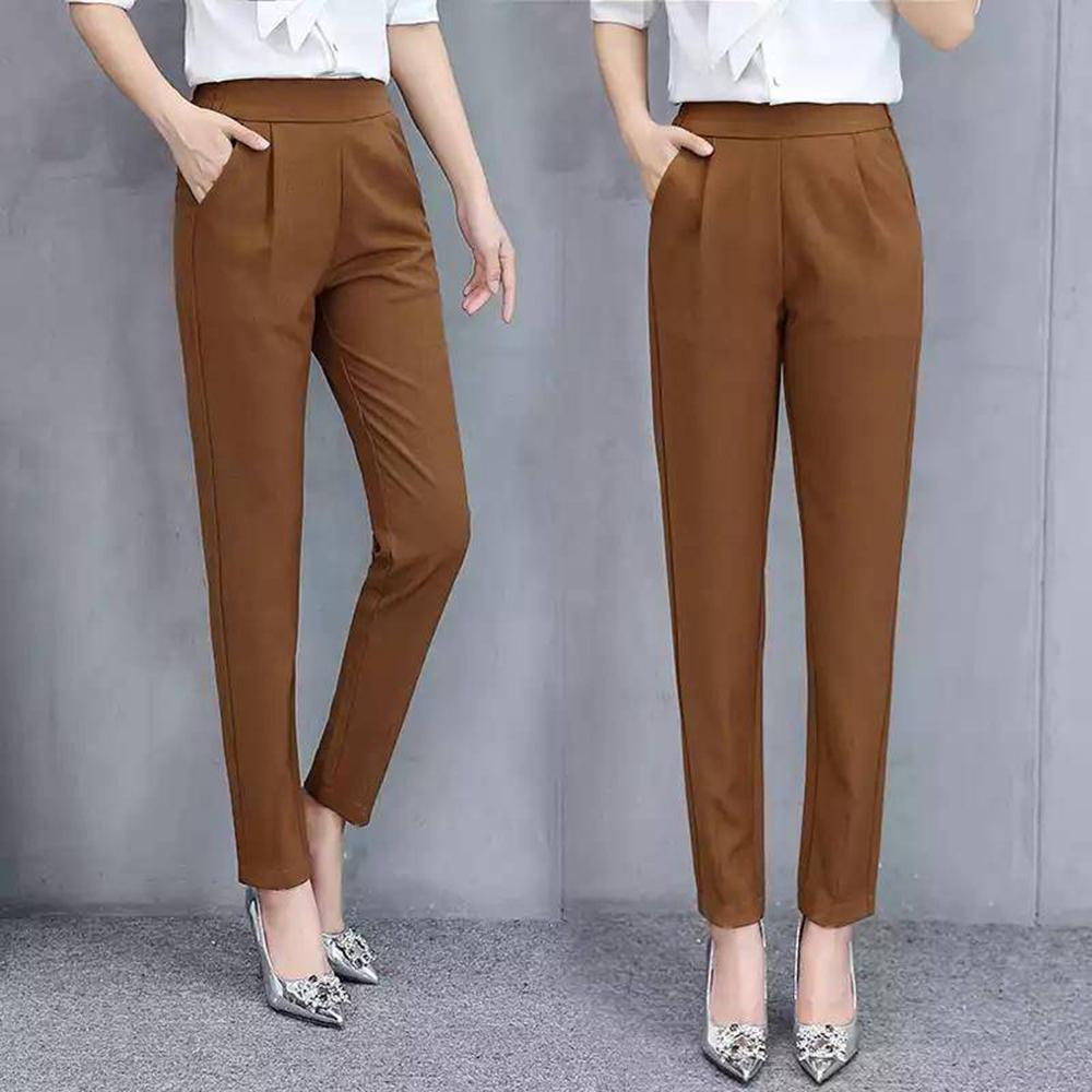 Women's Pants Casual Fashion Solid Mid Elastic Waist Long Trousers Office Plus Size Women Joggers Sweat Skinny Pencil Pant Black 6