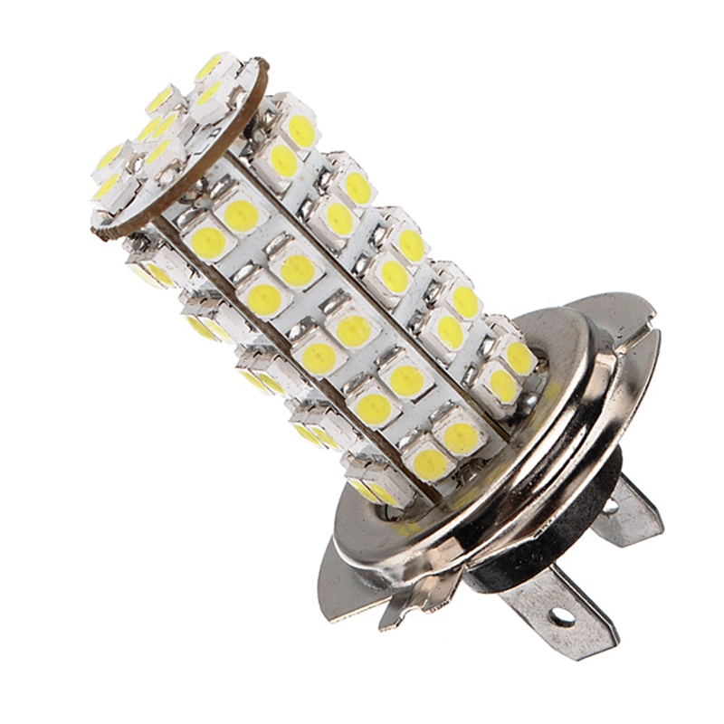Xenon Car Auto H7 LED Bulb 68leds SMD3528 Head Light Fog Daytime Lamp Vehicle 12V Fog Lights Parking Lamp Bulbs White 6000K led h16 eu ps19w 5202 bulbs for car daytime running lights lamp auto source parking 6000k white 12v 2 pieces saarmat