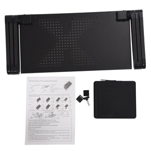 Image 5 - Portable Foldable Adjustable Laptop Desk Computer Table Stand Tray For Sofa Bed Black
