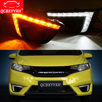 Car Styling 12V Turning Yellow Signal LED DRL Daytime Running Light Daylight Lamps Holes For Honda