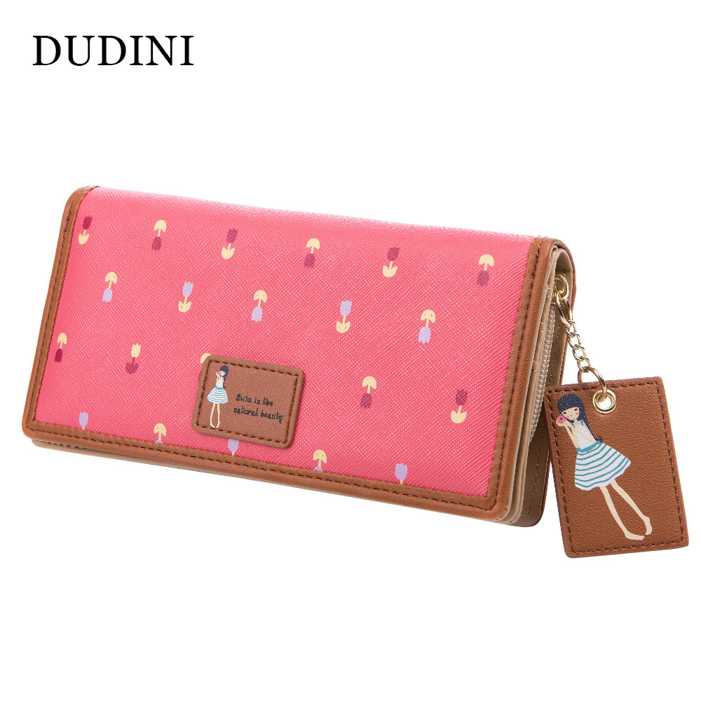 DUDINI New Fashion Cute Women Wallet PU Leather 6 Colors Printing Hasp Long Wallets Ladies Clutch Change Purse Card Holder