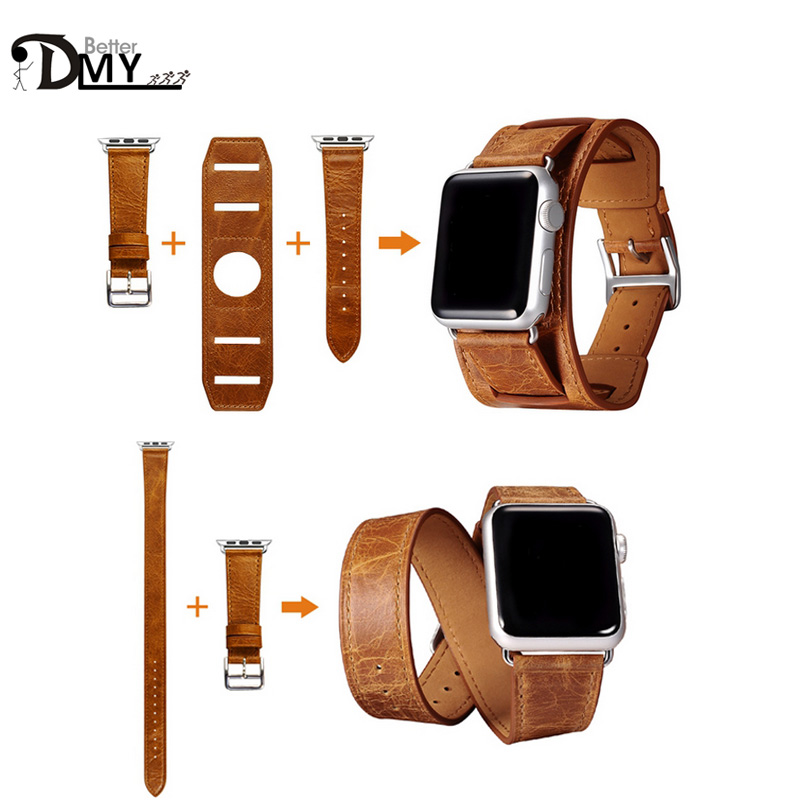 high quality 3 in 1 Cuff Single Double Tour wraps strap for apple watch band genuine