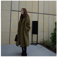 New Fashion Winter Wool Coat Women Europe Loose Style Casaco Feminino Ladies Autumn Slim Long Woolen Coats Army Green Overcoat