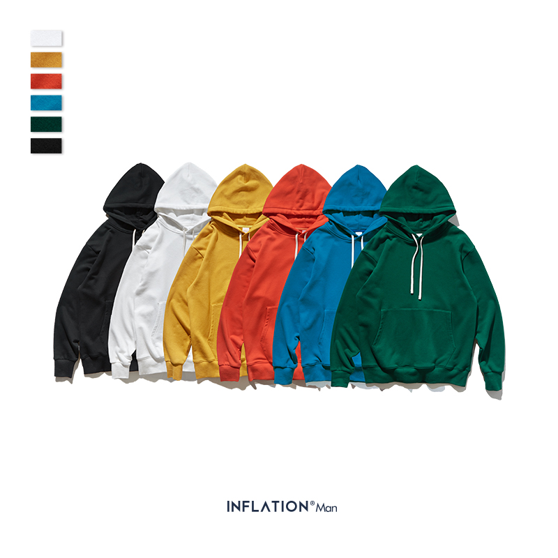INFLATION Men Streetwear Solid Hoodies Sweatshirts 2019 AW Fashion Style Cotton 9602W
