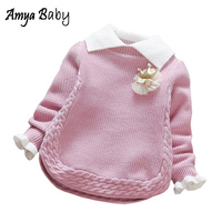 AmayBaby Newborn Baby Girl Sweater 2017 Autumn Winter Baby Sweaters Knitted Toddler Kids Clothes Long Sleeve