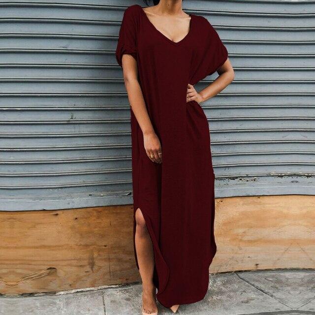 e37f523f2b7f Zanzea Fashion Women Summer Long Dress 2017 V Neck Short Sleeve Maxi Split  Sexy Party Dresses