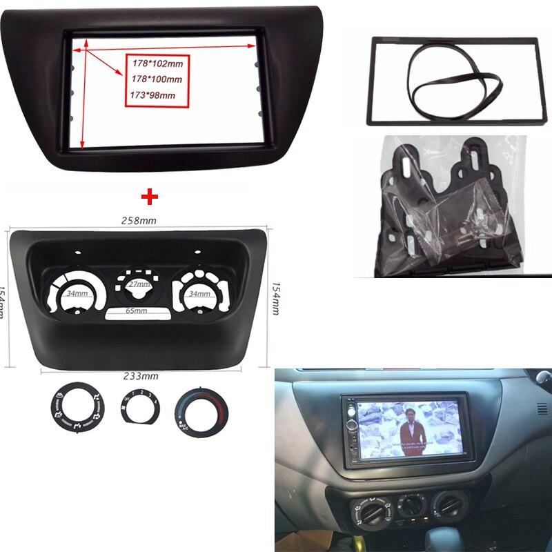 Voiture radio fascia Fit pour Mitsubishi Lancer IX 2006 réaménagement 2 din voiture radio panneau Fascia cadre cadre garniture lunette monture cadre Kit