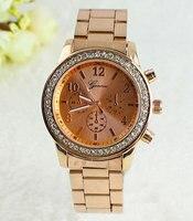2016 Hot Geneva Men Dress Watches Gold Full Steel Analog Quartz Ladies Rhinestone Wristwatches Relogio Feminino