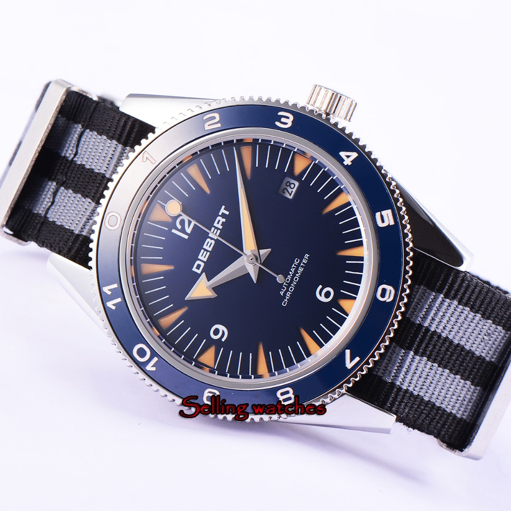 41mm debert blue dial luminous ceramic bezel miyota Automatic mens Watch Luxury Brand Top Mechanical Watches цена и фото