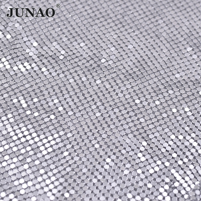 JUNAO 45 150cm Silver Aluminum Mesh Rhinestones Metal Trim Strass Crystal  Banding Bridal Applique for Clothes Luggage Crafts 7d9ace75175b
