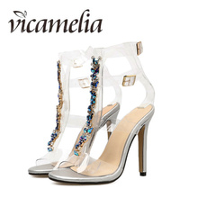Vicamelia Summer Ankle Wrap Colorful Crystal Gladiator Sandals New Bling Sexy High Heels Transparent Buckle Shoes Women 087