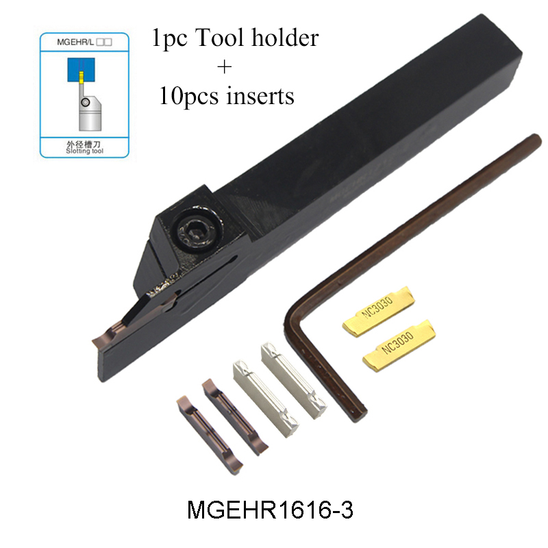 1pc MGEHR1616-3 MGEHL1616-3 Tool Holder And 10pcs MGMN300 M PC9030 NC3030 H01 Inserts Grooving Turning Tool Holder Set