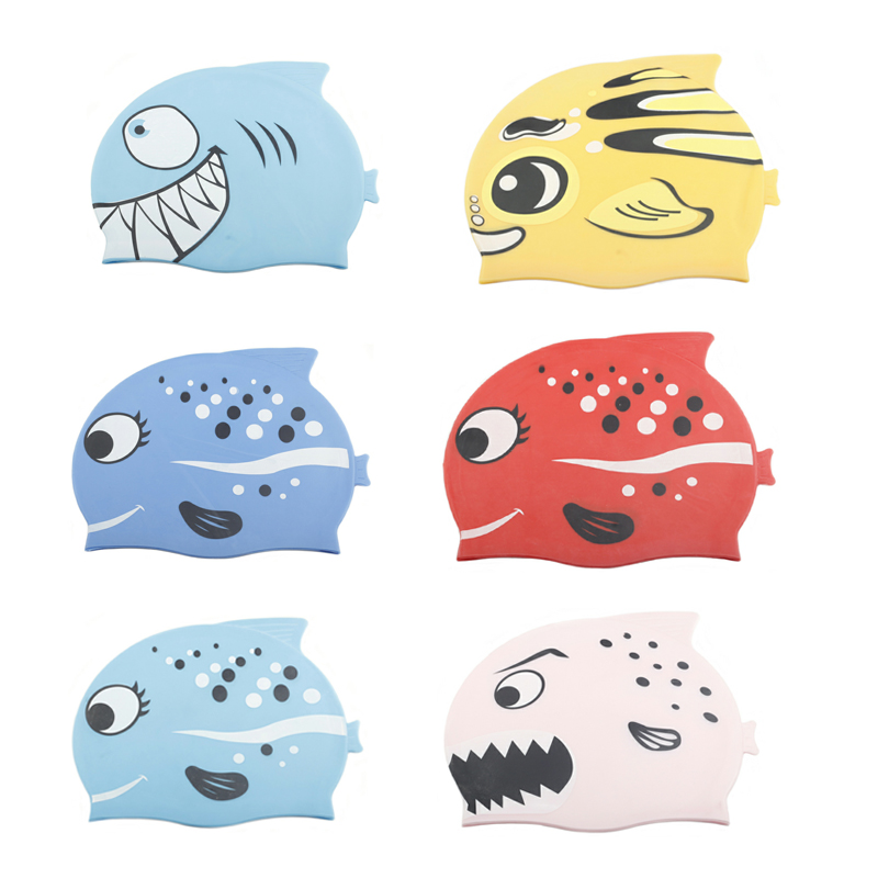 New children Swimming Caps Silicon Waterproof Ear Protect Swim Pool Hats kids Cartoon fish swimming hat Dropshipping