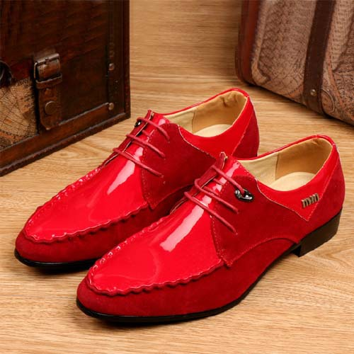 New 2017 Men Oxfords Dress Shoes Red Color Pointed Toe Breathable Genuine Leather Brogues Wedding Brands