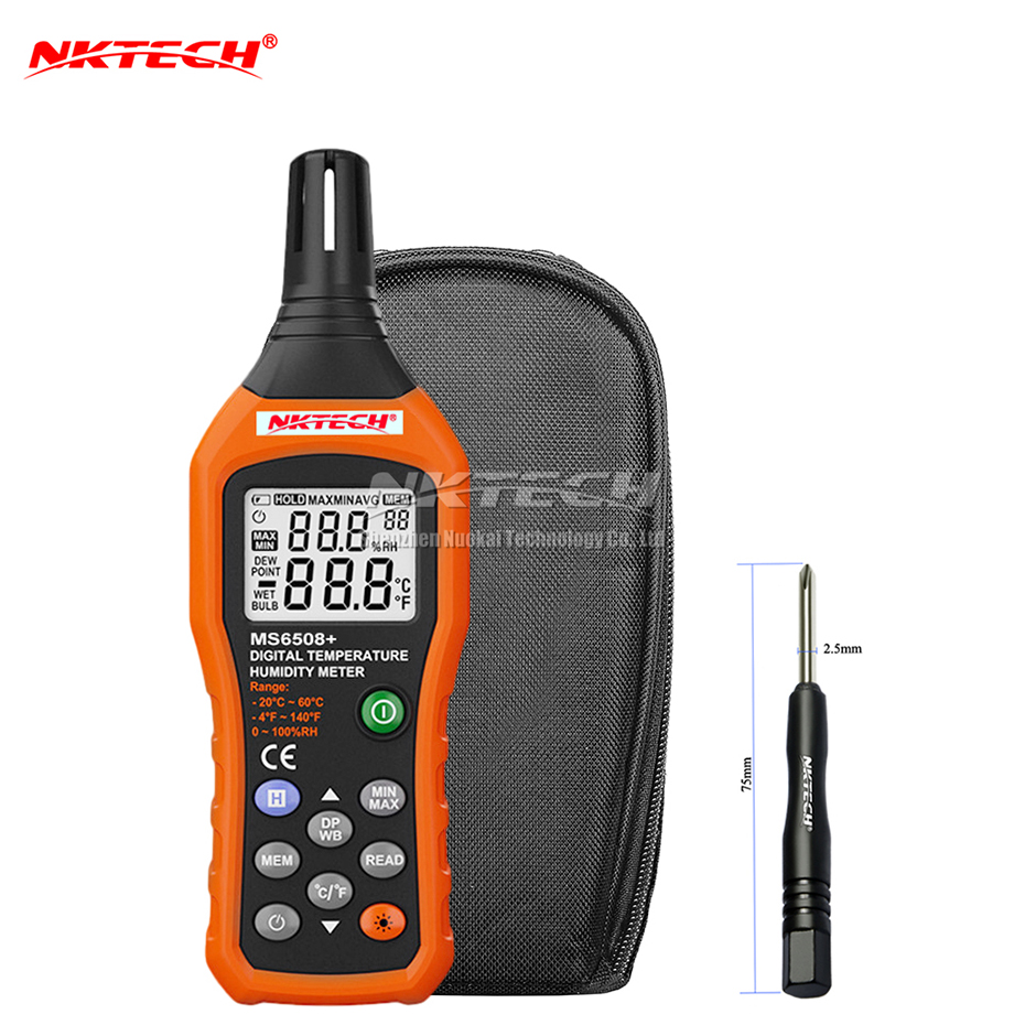 NKTECH MS6508 Digital Temperature Humidity Meter Thermometer Hygrometer Weather Station Barometer Dew Point Wet Bulb Ambient