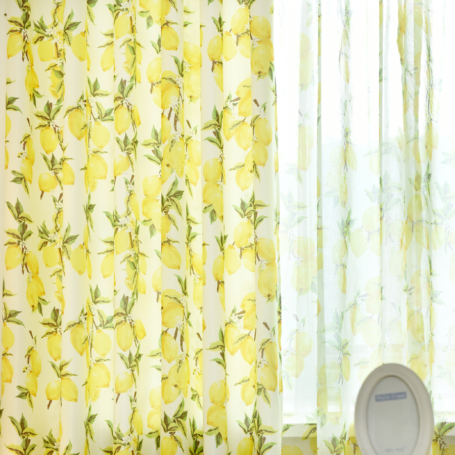 Lemon Green Curtains Us 9 Yellow Lemon Bright Curtains For Living Room Window Drapes Curtain Rustic Decoration For Home Kitchen Cortinas Dormitorio P166d3 In Curtains