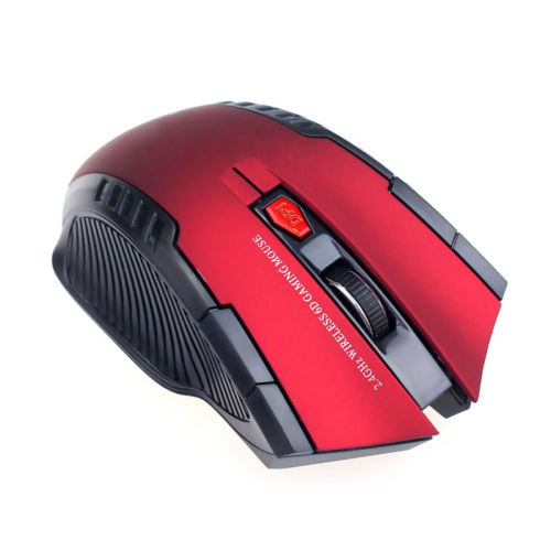 2.4Ghz Portable Wireless 2400DPI Optical Gaming Mouse Mice For PC Laptop Red+Black