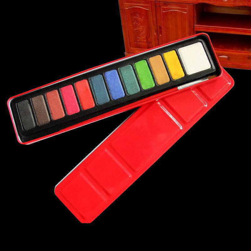 12 Color Solid Water Color Painting Set Box With Water Brush Bright Color Portable Watercolor Pigment Set Art Supplies