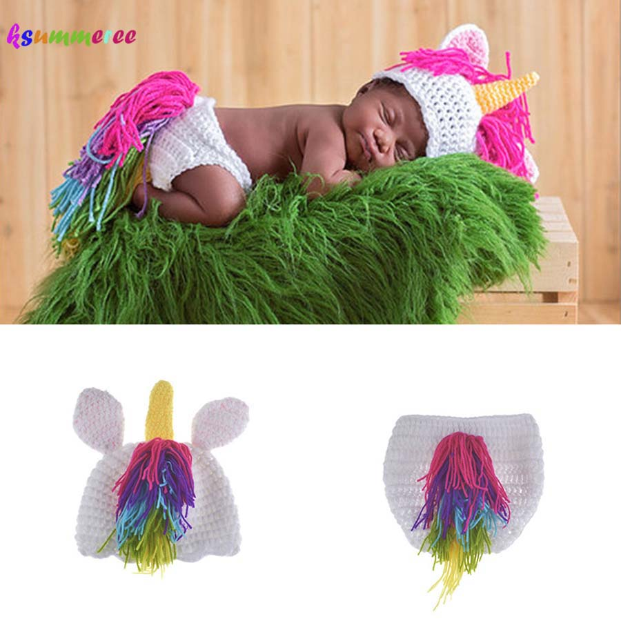 Infant Unicorn Costume | Crochet Unicorn Costume Outfit Newborn Rainbow Unicorn Photography Prop Baby Hat And Diapre Cover Set Infant Shower Gift