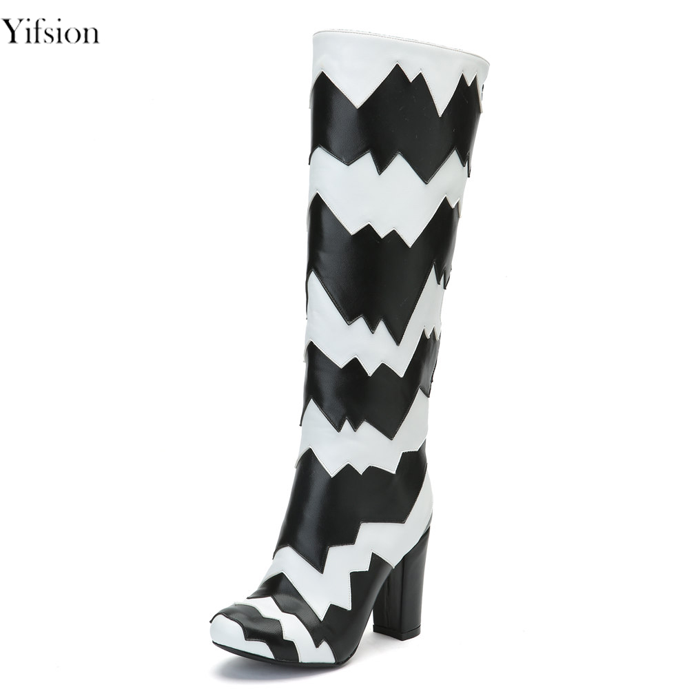 Yifsion New Women Winter Warm Boots Knee High Boots Super Sexy Square High Heels Nice Round Toe Black Shoes Women US Size 4-15Yifsion New Women Winter Warm Boots Knee High Boots Super Sexy Square High Heels Nice Round Toe Black Shoes Women US Size 4-15