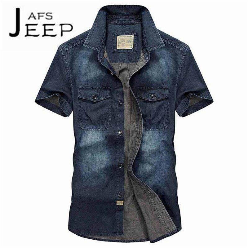 JI PU Los hombres hacen la vieja camisa de mezclilla,Short Sleeve Cotton material motorcycle Leisure Shirt,retro summer outwe