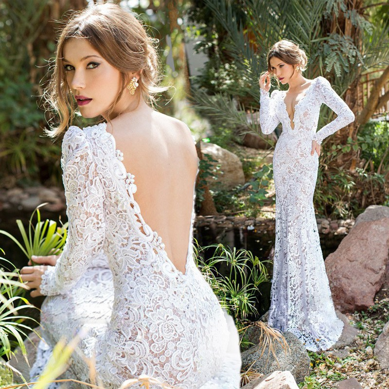 Backless Long Sleeve V Neck Trumpet Mermaid Lace Wedding Dresses 2015 Applique Top Sexy Bridal Gown yk1A531