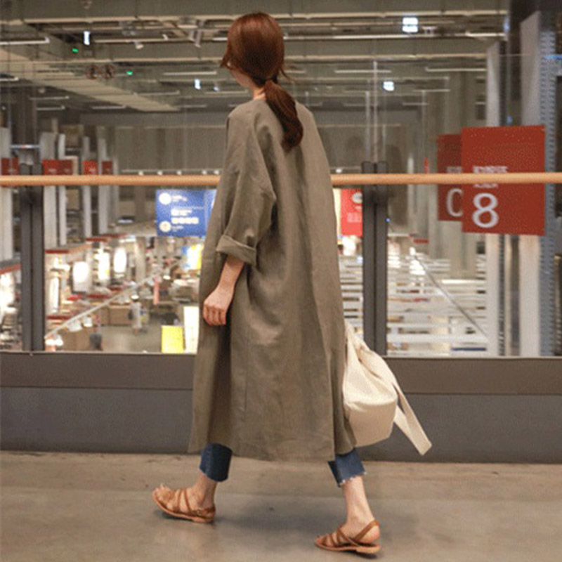 Trench   Coat 2019 Autumn Ladies Long Cotton Linen Women's Shirt Coat Large Size Casual Loose Thin Over Knee Cardigan Coat Female