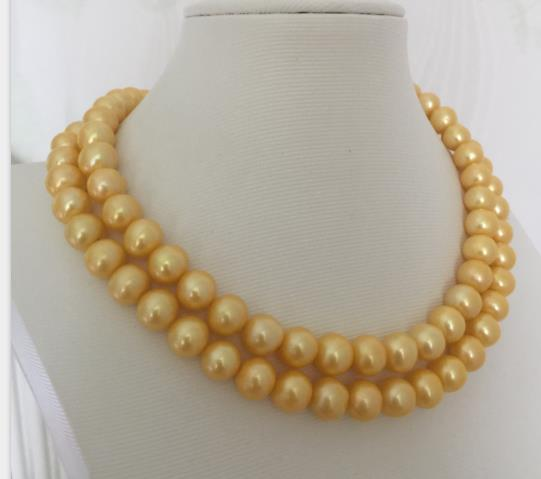 gorgeous 9-10mm south sea round gold pearl necklace 3814k/20gorgeous 9-10mm south sea round gold pearl necklace 3814k/20