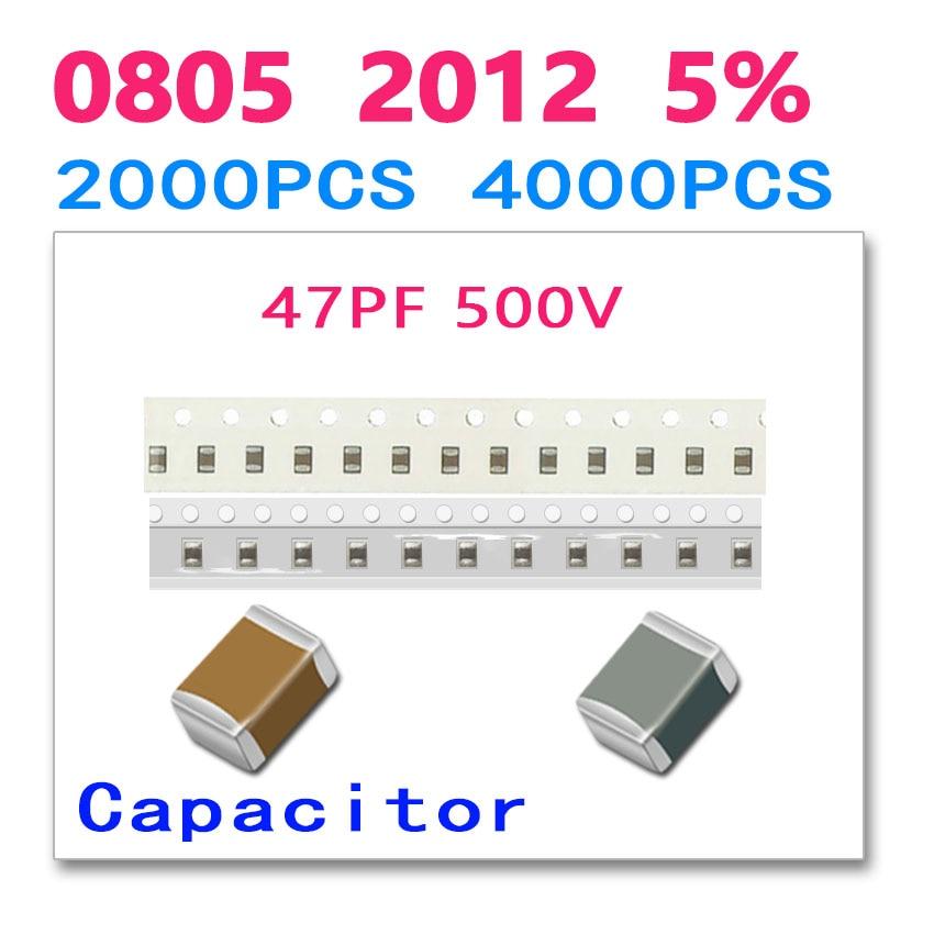 47PF 0805 2012 2000PCS 4000PCS 500V 47P 470 0.5KV High quality SMD ceramic chip Paper packaging and plastic packaging cl21a106koqnnne 0805 106k x5r 16v smd 10uf 2000pcs